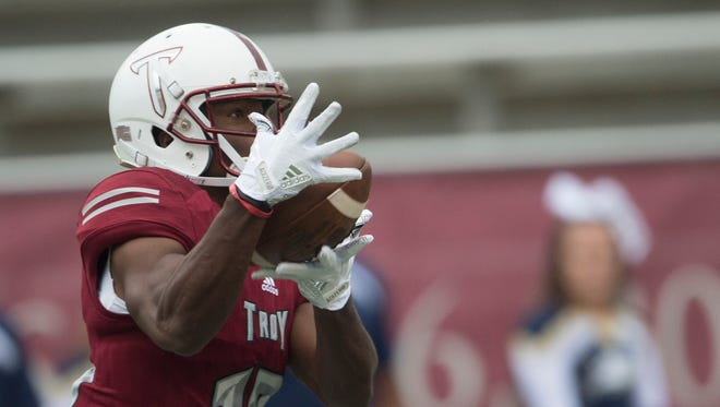 Troy wide receiver Tray Eafford (13) catches a pass during the NCAA football game between Troy and Georgia Southern on Saturday, Oct. 28, 2017, in Troy, Ala.