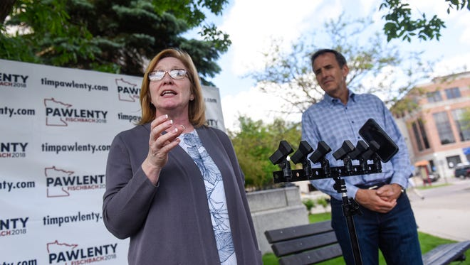 Lt. Gov. Michelle Fischbach speaks during a press conference with gubernatorial  candidate Tim Pawlenty Thursday, May 31, near the Stearns County Courthouse in St. Cloud.