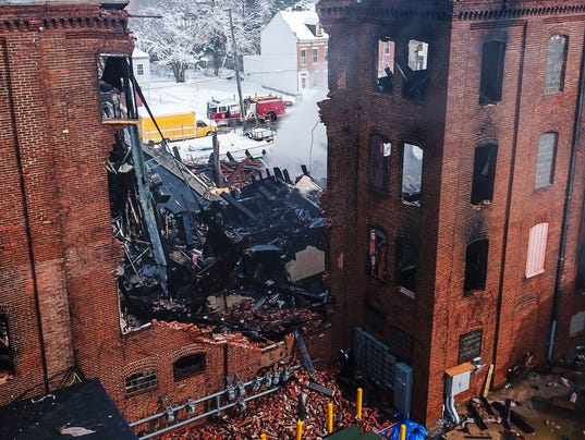 Former Weaver Piano building burns