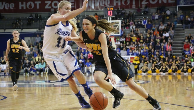 Iowa's Ally Disterhoft, seen here against Drake, is leading the Hawkeyes in scoring this season.