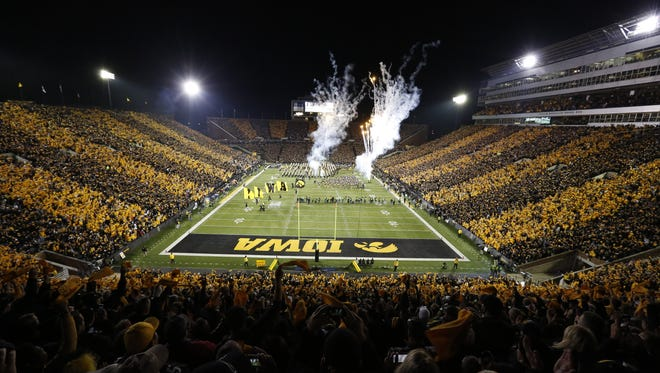 Iowa's football team will play two of its seven home games under the lights in 2015.