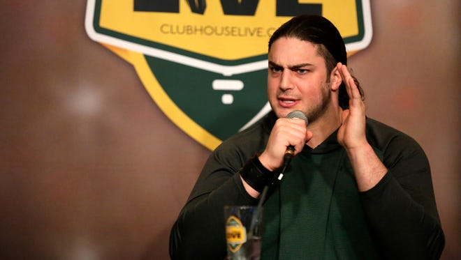 Clubhouse Live with co-hosts Brett Christopherson and Packers tackle David Bakhtiari welcome Brett Hundley at the Radisson Paper Valley Hotel in Appleton, Wis., Monday, Jan. 4, 2016.