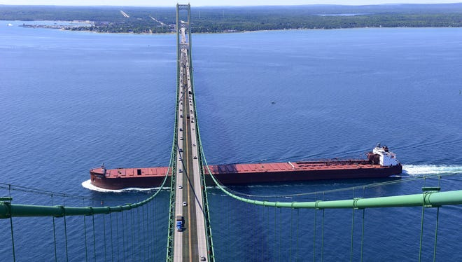 The 1,000-foot James R. Barker passes from Lake Michigan to Lake Huron through the Straits of Mackinac under the Mackinac Bridge. There is about 155 feet of clearance at the midspan of the bridge.