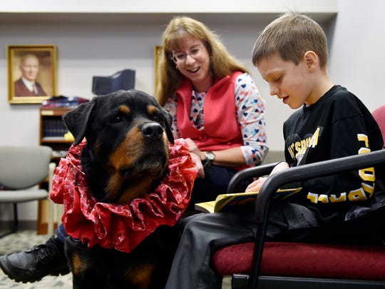 Kelly Skiptunas and her therapy dog, Spencer, encourage Grant Tomes, 8, of Springettsbury Township, as he reads at Kaltreider-Benfer Library in Red Lion. Spencer recently qualified for a distinguished honor from the American Kennel Club,  for making 400 visits as a therapy dog.
