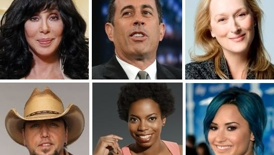 Clockwise from left, Cher, Jerry Seinfeld, Meryl Streep, Demi Lovato, Sasheer Zamata and Jason Aldean made The Star's list of the 20 most interesting visitors for spring.