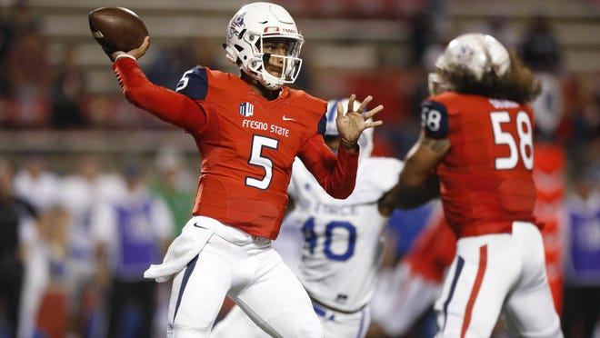 Oct 28, 2016; Fresno, CA, USA; Fresno State Bulldogs quarterback Chason Virgil (5) throws the ball against the Air Force Falcons in the first quarter at Bulldog Stadium. Mandatory Credit: Cary Edmondson-USA TODAY Sports
