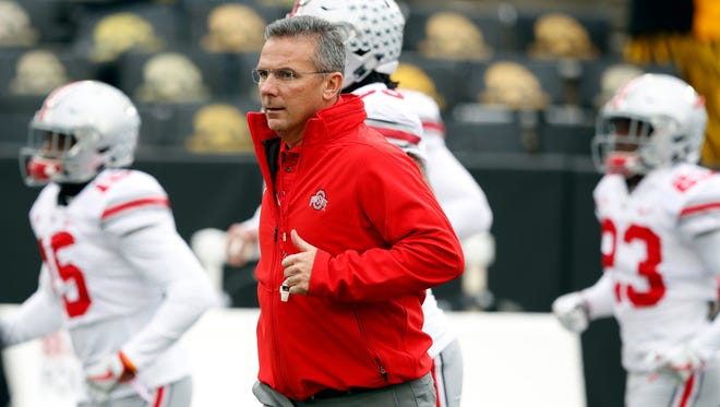 Ohio State head coach Urban Meyer leads the Buckeyes.