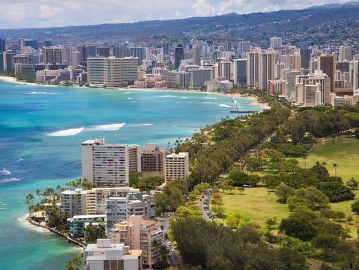Aerial view of the Honolulu skyline and Waikiki Beach