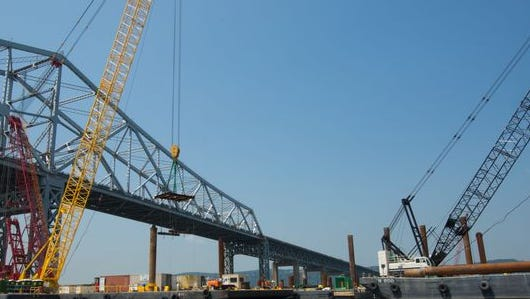 Work continues on the replacement Tappan Zee Bridge.