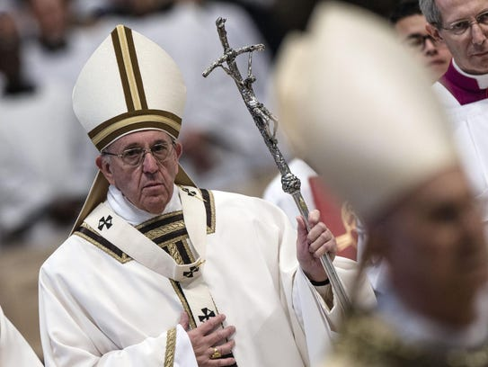 Pope Francis celebrates the Chrism Mass for Holy Thursday
