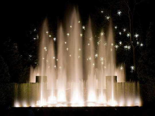 The fountains in Longwood's Open Air Theatre offer two programs of the fountains synchronized with holiday music.
