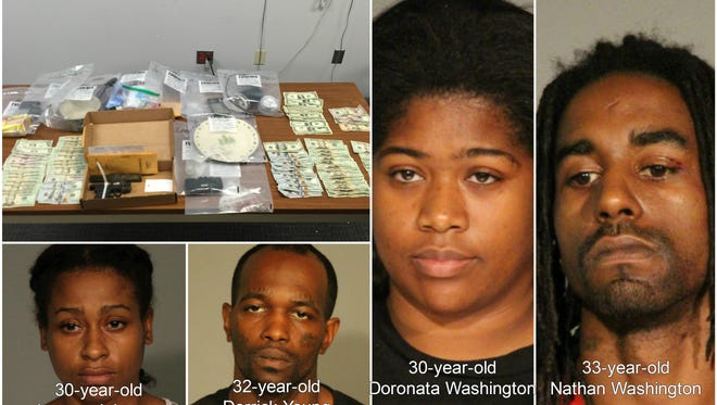 Indianapolis police seized guns, drugs and made four arrests late last week when serving a warrant.