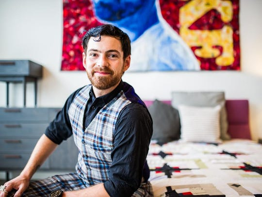 Luke Haynes grew up in Asheville before moving to Los Angeles to pursue a career as an architect and later as an artist. His work is part of an upcoming exhibition of male quilters at the Asheville Art Museum.