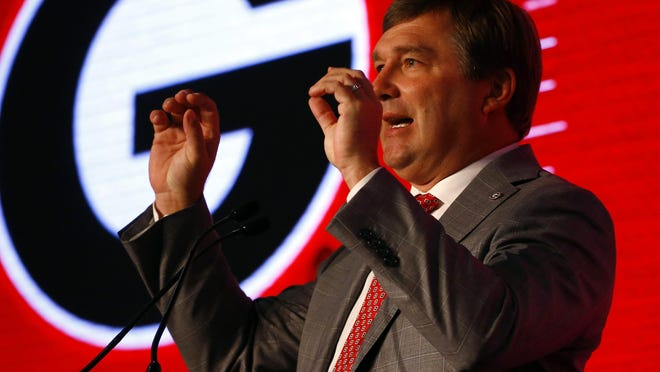 Head coach Kirby Smart, of Georgia, speaks during the NCAA college football Southeastern Conference Media Days, Tuesday, July 16, 2019, in Hoover, Ala.