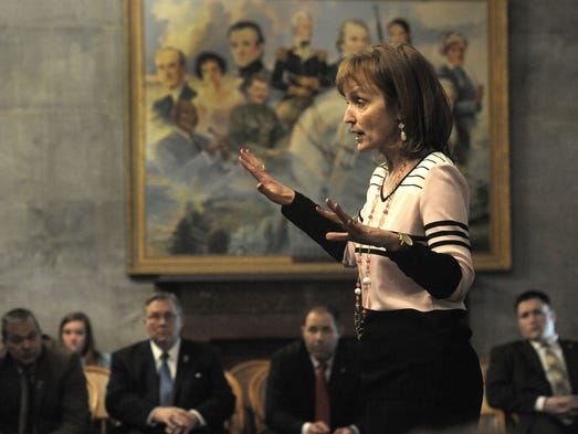 Speaker of the House Beth Harwell speaks to  a House Republican caucus in the old Supreme Court Chambers where they talked about the budget on Wednesday.