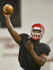 USD's Tyler Foote runs drills during practice after media day Thursday, Aug 9, at the DakotaDome in Vermillion.