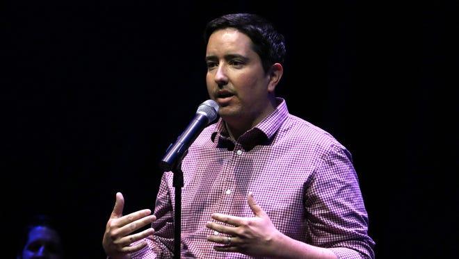 Brett McGinness speaks at an RGJ Storytellers Project event, June 15, 2017.
