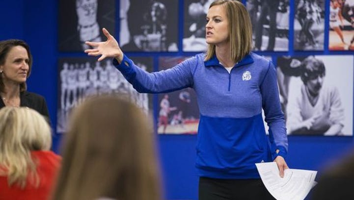 Drake women's basketball coach Jennie Baranczyk at