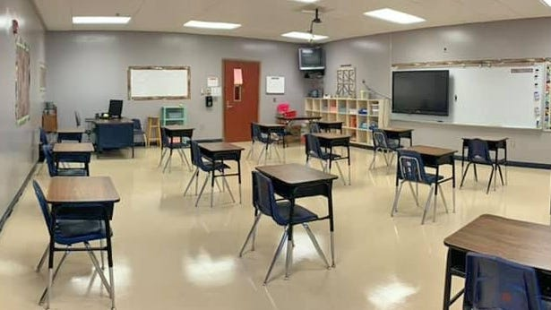 This model classroom in District 45 shows a preview of what classrooms will look like across the county as desks are spaced six feet apart to maintain social distancing. This means that class sizes will also be smaller.