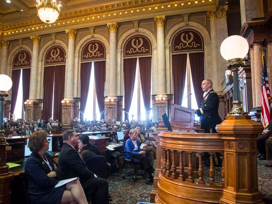 Maj. Gen. Tim Orr, adjutant general of the Iowa National Guard, gives the annual Condition of the Iowa National Guard speech to a joint session of the Iowa House and Senate Tuesday, Jan. 31, 2017.