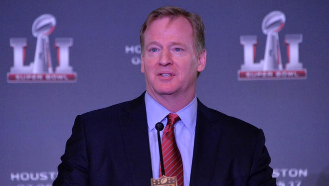 NFL commissioner Roger Goodell speaks during a Super Bowl LI press conference at the Moscone Center.