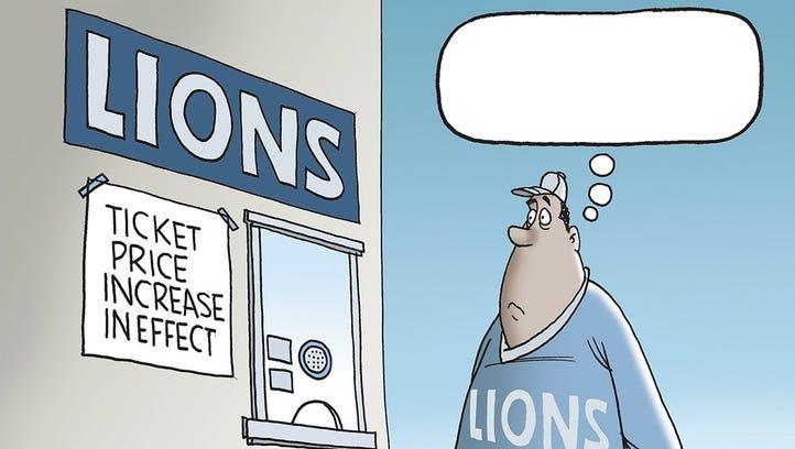 Mike Thompson's Detroit Lions cartoon.