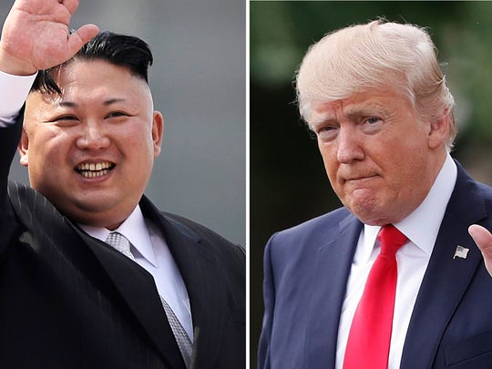 North Korean leader Kim Jong Un on April 15, 2017, in Pyongyang, North Korea, and President Trump in Washington on April 29, 2017.