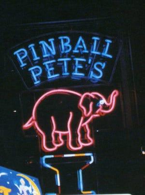 Pinball Pete's in East Lansing neon sign. Photo taken between 1979-1986.