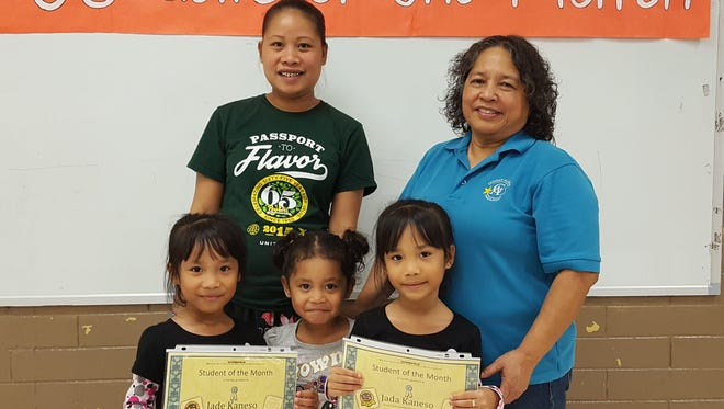 The Guahan Academy Charter School honored its September Student of the Month awardees on Oct.12. Pictured from left (front row): Jade Kaneso; Jaydden Kaneso and Jada Kaneso. Pictured from left (back row): Teilin Kaneso and Mary Mafnas, Dean of Elementary School Guahan Academy Charter School.
