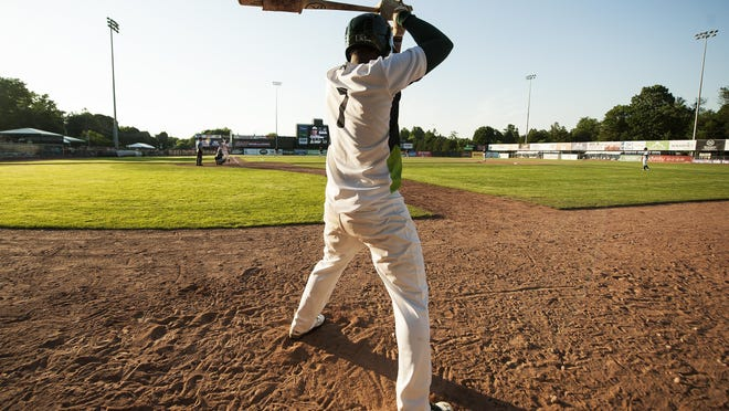 Vermont's Miguel Mercedes (7) waits on deck during the baseball game between the Connecticut Tigers and the Vermont Lake Monsters at Centennial Field on Sunday in Burlington.