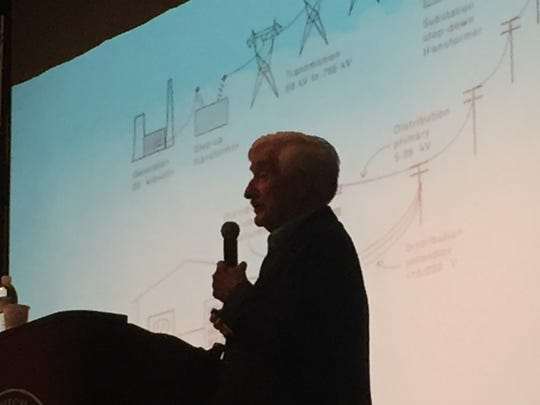 David Carpenter, a public health expert, has been studying the effects of EMFs on humans since the 1980s. He spoke to a crowd of more than 200 Wednesday night in Hazlet   where some residents are nervous about a proposed 230-kilovolt transmission line is being considered.