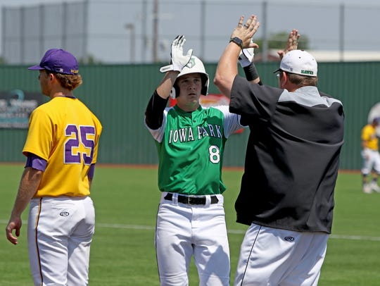 Iowa Park's Kase Johnson celebrates with the first