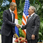 President Obama shakes hands with Cuban President Raul Castro, March 21, 2016, Havana.