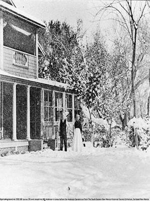 """Josephine """"Grandma"""" Anderson stands with her husband outside the sanatorium she built in Carlsbad after her experience nursing flu victims in 1918."""
