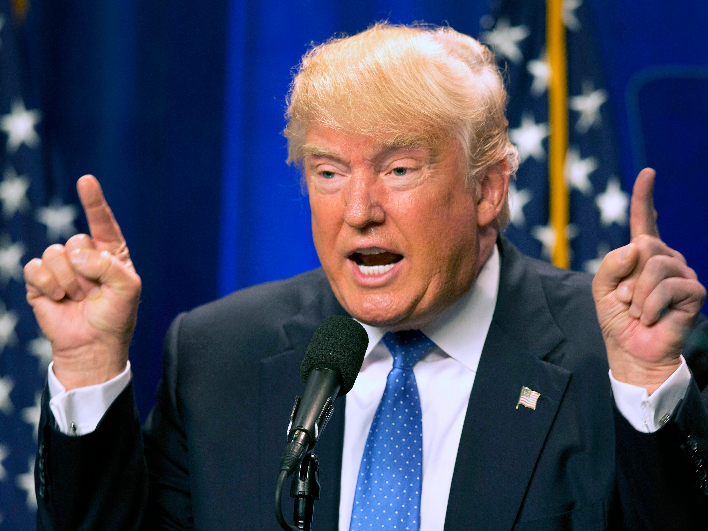 Republican presidential candidate Donald Trump speaks at Saint Anselm College in Manchester, N.H., in June.
