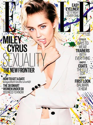"""Miley Cyrus on the cover of """"ELLE."""""""