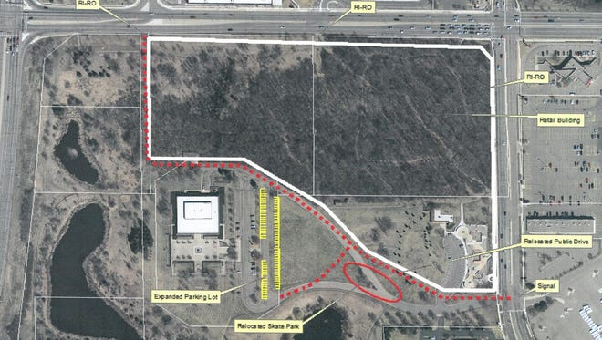 An aerial image shows the proposed site plan for a Costco warehouse store.