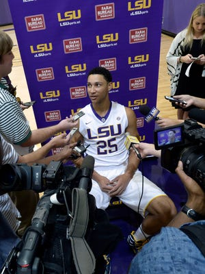 LSU freshman Ben Simmons speaks during the school's media day.