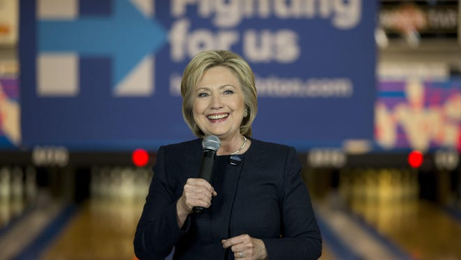 Democratic presidential candidate Hillary Clinton speaks at a campaign event at Adel Family Fun Center in Adel, Iowa.