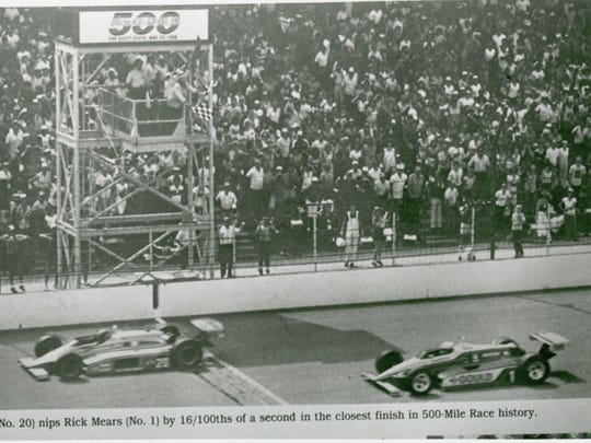 Gordon Johncock (No 20.) nips rick Mears (No 1) by 16/100ths of a second in the finish of the 1982 Indianapolis 500.