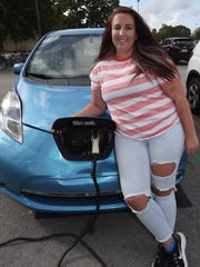 Macy Claprood drives a Nissan Leaf in Fort Lauderdale,