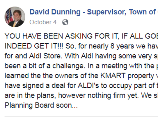 On Facebook, Chili Town Supervisor David Dunning announced