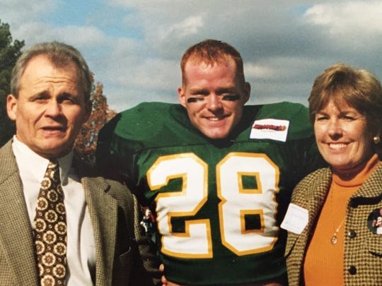 Sean McDermott on senior day at William and Mary with father Rich and mother Avis.