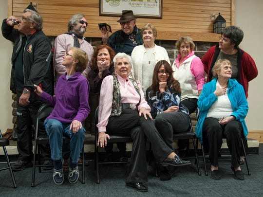 "The cast of the murder mystery entitled ""Murder in the Heights"", (front row l-r); Maureen DeFuria, Irene Cervino, Gladys Rodriguez, Judy Buecker, (back row l-r); Bob Marshall, Craig Huber, acting teacher and director Karen Scioli, Ken Shuttleworth, Fran Marshall, Roselyn Clark, and Kathy Miller pose for a group photo as they gather to rehearse in the Haddon Heights Cabin.  11.30.17"