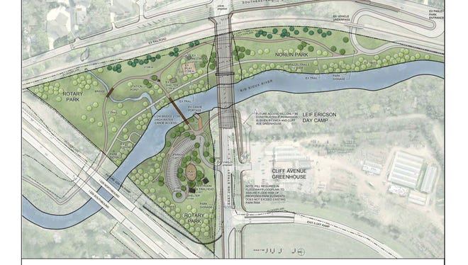 The entrance and parking lot for Rotary park will be moved to the west side of the Big Sioux River.