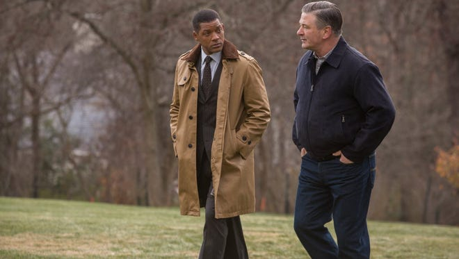 "Will Smith and Alec Baldwin in ""Concussion."""