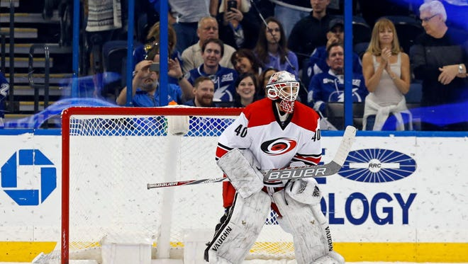 Hurricanes emergency backup goalie Jorge Alves makes his NHL debut during the third period.