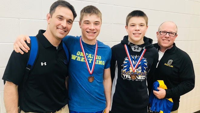 Ontario state qualifiers Colton Turnbaugh (second from left) and Carter Kroll with their fathers/coaches Wes Turnbaugh (left) and Kevin Kroll.