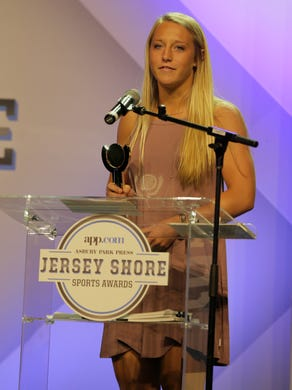 Frankie Tagliaferri of Colts Neck wins the Girls Soccer Player of the Year Award during the Asbury Park Press Jersey Shore Sports Awards at the MAC on the campus of Monmouth University in West Long Branch, NJ Monday June 13, 2016.