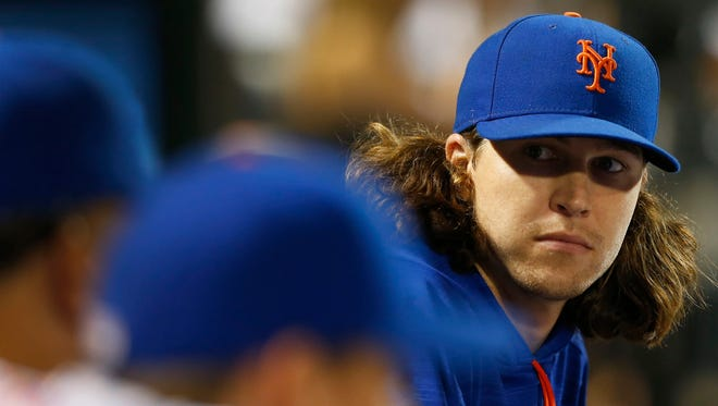 New York Mets starting pitcher Jacob deGrom (48) in the fourth inning at Citi Field on Sept. 2nd, 2016.